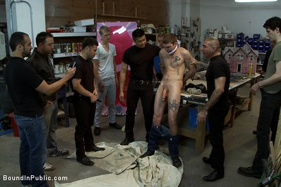 Photo number 1 from Straight stud's butthole gets violated by the Gay Mafia in the paint shop. shot for Bound in Public on Kink.com. Featuring Nick Moretti, Tristan Jaxx and Hayden Russo in hardcore BDSM & Fetish porn.