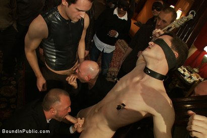 Photo number 2 from Partygoers beat and skull fuck a big dick stud in bondage.  shot for Bound in Public on Kink.com. Featuring Josh West and CJ in hardcore BDSM & Fetish porn.
