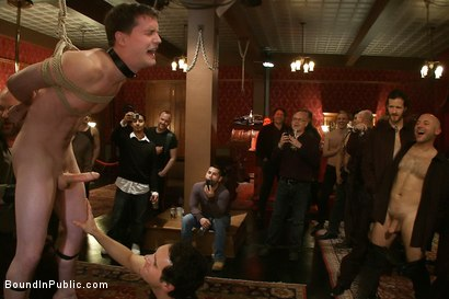 Photo number 9 from Partygoers beat and skull fuck a big dick stud in bondage.  shot for Bound in Public on Kink.com. Featuring Josh West and CJ in hardcore BDSM & Fetish porn.