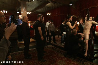 Photo number 1 from Partygoers beat and skull fuck a big dick stud in bondage.  shot for Bound in Public on Kink.com. Featuring Josh West and CJ in hardcore BDSM & Fetish porn.