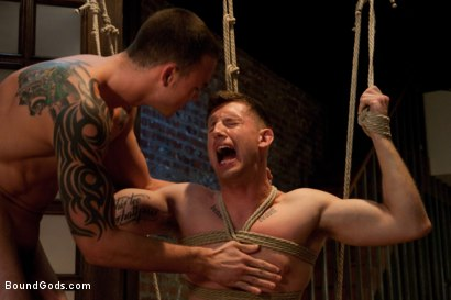 Photo number 5 from Bad Biker and a Daddy's Boy shot for Bound Gods on Kink.com. Featuring Troy Daniels and Cliff Jensen in hardcore BDSM & Fetish porn.
