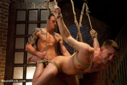 Photo number 7 from Bad Biker and a Daddy's Boy shot for Bound Gods on Kink.com. Featuring Troy Daniels and Cliff Jensen in hardcore BDSM & Fetish porn.