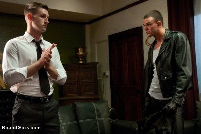 Photo number 1 from Bad Biker and a Daddy's Boy shot for Bound Gods on Kink.com. Featuring Troy Daniels and Cliff Jensen in hardcore BDSM & Fetish porn.