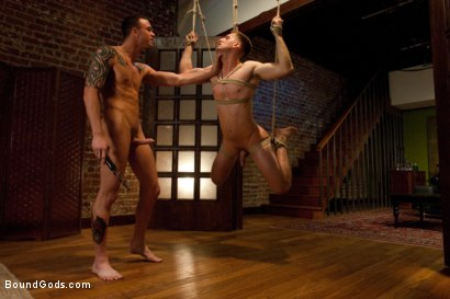 Photo number 4 from Bad Biker and a Daddy's Boy shot for Bound Gods on Kink.com. Featuring Troy Daniels and Cliff Jensen in hardcore BDSM & Fetish porn.