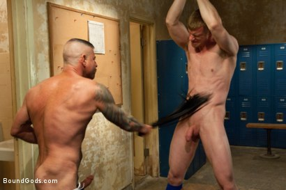 Photo number 5 from Innocent baseball jock gets violated by his nasty coach. shot for Bound Gods on Kink.com. Featuring Nick Moretti and Blake Daniels in hardcore BDSM & Fetish porn.