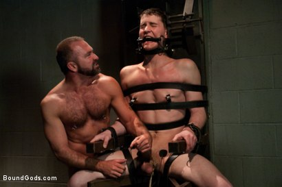 Photo number 10 from The Sex Addict with a nine inch cock is back and he's acquired new powers! shot for Bound Gods on Kink.com. Featuring CJ and Josh West in hardcore BDSM & Fetish porn.