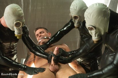 Photo number 4 from Taken and Probed shot for Bound Gods on Kink.com. Featuring Nick Moretti, Josh West, Tristan Jaxx and Lance Navarro in hardcore BDSM & Fetish porn.