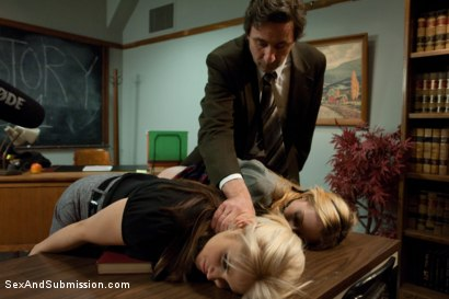 Photo number 3 from The Good Old Methods shot for Sex And Submission on Kink.com. Featuring Steve Holmes, Sarah Vandella and Emma Haize in hardcore BDSM & Fetish porn.