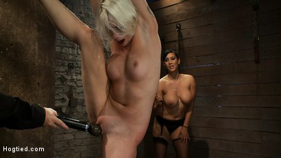 Photo number 9 from We yank a leg up, cane her<br>then make her cum until she's totally physically & emotionally wrecked shot for Hogtied on Kink.com. Featuring Lorelei Lee and Isis Love in hardcore BDSM & Fetish porn.