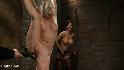 Photo number 10 from We yank a leg up, cane her<br>then make her cum until she's totally physically & emotionally wrecked shot for Hogtied on Kink.com. Featuring Lorelei Lee and Isis Love in hardcore BDSM & Fetish porn.