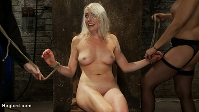 Photo number 14 from We yank a leg up, cane her<br>then make her cum until she's totally physically & emotionally wrecked shot for Hogtied on Kink.com. Featuring Lorelei Lee and Isis Love in hardcore BDSM & Fetish porn.