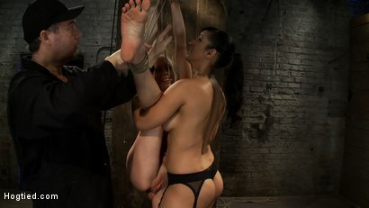 Photo number 4 from We yank a leg up, cane her<br>then make her cum until she's totally physically & emotionally wrecked shot for Hogtied on Kink.com. Featuring Lorelei Lee and Isis Love in hardcore BDSM & Fetish porn.