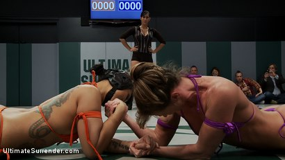 Photo number 1 from RD 1 of the 2010 TAG TEAM CHAMPIONSHIP Match up!<br>The only non-scripted wrestling site on the net! shot for Ultimate Surrender on Kink.com. Featuring Hollie Stevens, DragonLily, Ariel X, Isis Love and Bella Rossi in hardcore BDSM & Fetish porn.