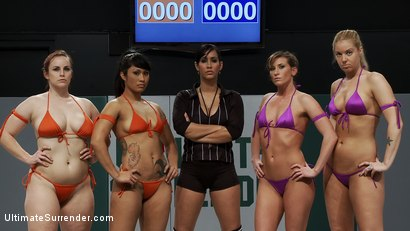 Photo number 2 from RD 1 of the 2010 TAG TEAM CHAMPIONSHIP Match up!<br>The only non-scripted wrestling site on the net! shot for Ultimate Surrender on Kink.com. Featuring Hollie Stevens, DragonLily, Ariel X, Isis Love and Bella Rossi in hardcore BDSM & Fetish porn.