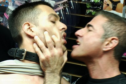 Photo number 2 from Latin hunk gets double penetrated at Folsom Gulch porn store. shot for Bound in Public on Kink.com. Featuring Christian Wilde and Emanuel in hardcore BDSM & Fetish porn.