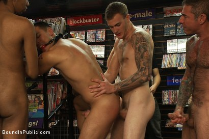 Photo number 12 from Latin hunk gets double penetrated at Folsom Gulch porn store. shot for Bound in Public on Kink.com. Featuring Christian Wilde and Emanuel in hardcore BDSM & Fetish porn.