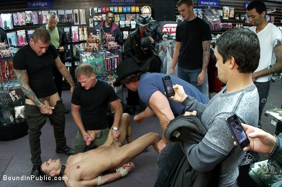Photo number 3 from Latin hunk gets double penetrated at Folsom Gulch porn store. shot for Bound in Public on Kink.com. Featuring Christian Wilde and Emanuel in hardcore BDSM & Fetish porn.