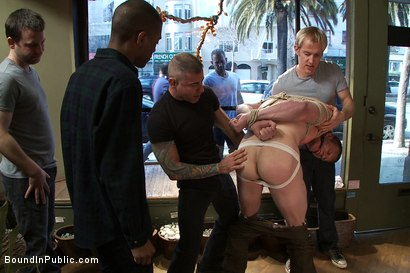 Photo number 4 from Nordic hunk humiliated and bukkake in a flower shop. shot for Bound in Public on Kink.com. Featuring Ned Mayhem and Blake Daniels in hardcore BDSM & Fetish porn.