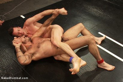 Photo number 6 from Dj & Kyle Braun vs Leo Forte & Alessio Romero <br> The Tag Team Match shot for Naked Kombat on Kink.com. Featuring Alessio Romero, Leo Forte, DJ and Kyle Braun in hardcore BDSM & Fetish porn.