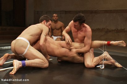 Photo number 3 from Dj & Kyle Braun vs Leo Forte & Alessio Romero <br> The Tag Team Match shot for Naked Kombat on Kink.com. Featuring Alessio Romero, Leo Forte, DJ and Kyle Braun in hardcore BDSM & Fetish porn.
