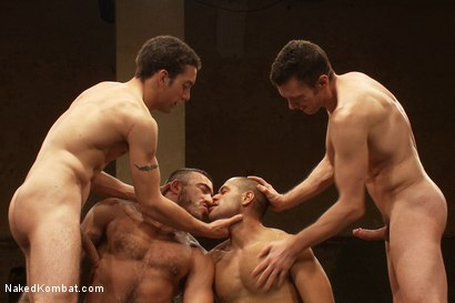 Photo number 12 from Dj & Kyle Braun vs Leo Forte & Alessio Romero <br> The Tag Team Match shot for Naked Kombat on Kink.com. Featuring Alessio Romero, Leo Forte, DJ and Kyle Braun in hardcore BDSM & Fetish porn.