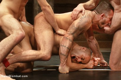 Photo number 14 from Dj & Kyle Braun vs Leo Forte & Alessio Romero <br> The Tag Team Match shot for Naked Kombat on Kink.com. Featuring Alessio Romero, Leo Forte, DJ and Kyle Braun in hardcore BDSM & Fetish porn.