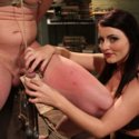 Divine girl Sophie Dee catches her husband masturbating then punishes him with CBT, strap-on ass fucking, and eating his cum from her toes