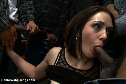 Photo number 2 from Hot Slut Pays off her Boyfriend's Debts with her Body shot for Bound Gang Bangs on Kink.com. Featuring Sarah Shevon in hardcore BDSM & Fetish porn.