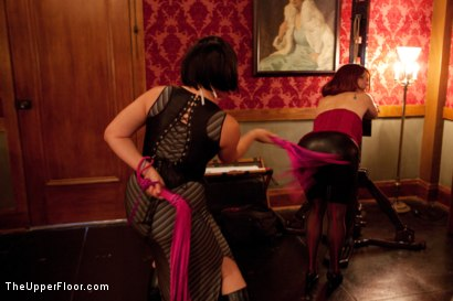 Photo number 9 from Stefanos' Brunch shot for The Upper Floor on Kink.com. Featuring Maestro Stefanos, Nerine Mechanique, Jessie Cox and Kait Snow in hardcore BDSM & Fetish porn.