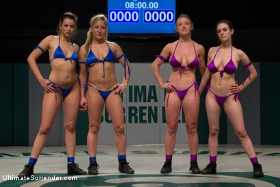 Photo number 2 from First Match of the 2011 Tag Team League!: The Goddesses vs Team Ice<br> In front of a LIVE audience! shot for Ultimate Surrender on Kink.com. Featuring Allie Haze, Dia Zerva, Dee Williams, Iona Grace and Isis Love in hardcore BDSM & Fetish porn.