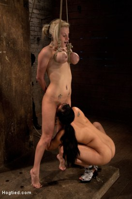 Photo number 14 from BONDAGE TUTORIAL: Part 3 of 4.<br>Today we teach you how to bind, & wrap breasts properly & safely. shot for Hogtied on Kink.com. Featuring Isis Love and Haley Cummings in hardcore BDSM & Fetish porn.