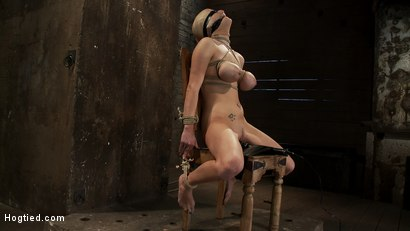 Photo number 12 from BONDAGE TUTORIAL: <br>How to properly do a chair tie, we also teach you the secret of the INSEX mask shot for Hogtied on Kink.com. Featuring Isis Love and Haley Cummings in hardcore BDSM & Fetish porn.