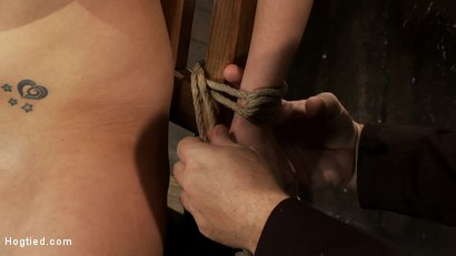 Photo number 4 from BONDAGE TUTORIAL: <br>How to properly do a chair tie, we also teach you the secret of the INSEX mask shot for Hogtied on Kink.com. Featuring Isis Love and Haley Cummings in hardcore BDSM & Fetish porn.