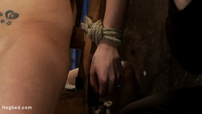 Photo number 5 from BONDAGE TUTORIAL: <br>How to properly do a chair tie, we also teach you the secret of the INSEX mask shot for Hogtied on Kink.com. Featuring Isis Love and Haley Cummings in hardcore BDSM & Fetish porn.