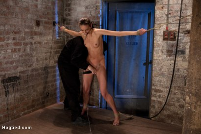 Photo number 5 from It's her first hardcore Bondage shoot.<br>She cums like a whore while gagged & suspended! Category 5 shot for Hogtied on Kink.com. Featuring Tiffany Tyler in hardcore BDSM & Fetish porn.
