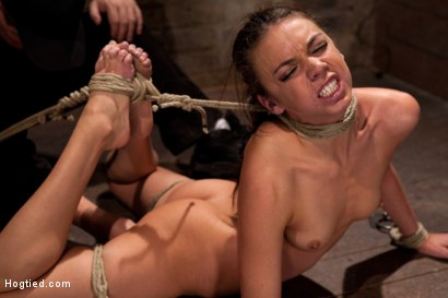 Photo number 10 from Girl next door is bound in basement, her back pulled to the breaking point, can she keep conscious? shot for Hogtied on Kink.com. Featuring Tiffany Tyler in hardcore BDSM & Fetish porn.