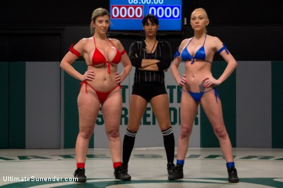 """Photo number 2 from Tiny Blond vs Monster Boobage<br>A modern day David & Goliath, where Goliath has Monster """"EE"""" tits  shot for Ultimate Surrender on Kink.com. Featuring Samantha Sin and Sara Jay in hardcore BDSM & Fetish porn."""