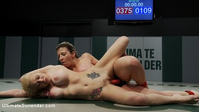 """Photo number 14 from Tiny Blond vs Monster Boobage<br>A modern day David & Goliath, where Goliath has Monster """"EE"""" tits  shot for Ultimate Surrender on Kink.com. Featuring Samantha Sin and Sara Jay in hardcore BDSM & Fetish porn."""