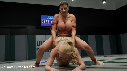 """Photo number 15 from Tiny Blond vs Monster Boobage<br>A modern day David & Goliath, where Goliath has Monster """"EE"""" tits  shot for Ultimate Surrender on Kink.com. Featuring Samantha Sin and Sara Jay in hardcore BDSM & Fetish porn."""
