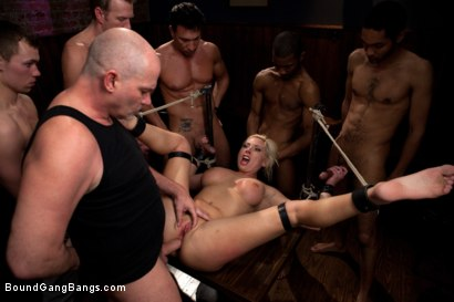 Photo number 9 from Blackmailed  shot for Bound Gang Bangs on Kink.com. Featuring Skylar Price in hardcore BDSM & Fetish porn.