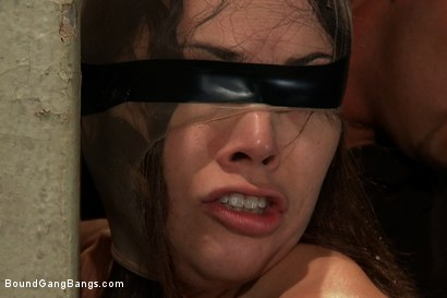 Photo number 3 from Hot Brunette Fantasizes of Being Dressed in Uniform and Aggressively Assfucked by a Group of Men shot for Bound Gang Bangs on Kink.com. Featuring Kristina Rose in hardcore BDSM & Fetish porn.