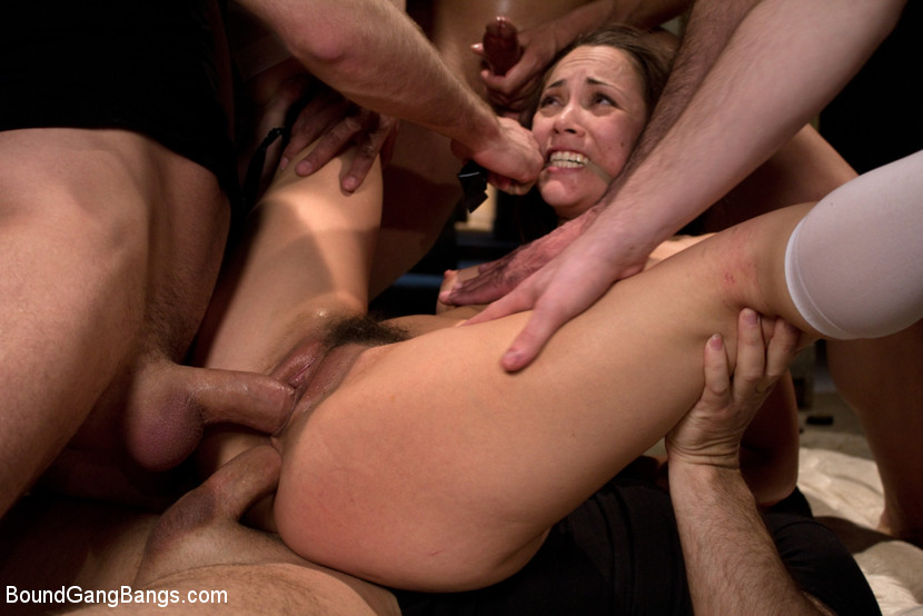 BoundGangBangs.com - Hot Brunette Fantasizes of Being Dressed in Uniform and Aggressively Assfucked by a Group of Men