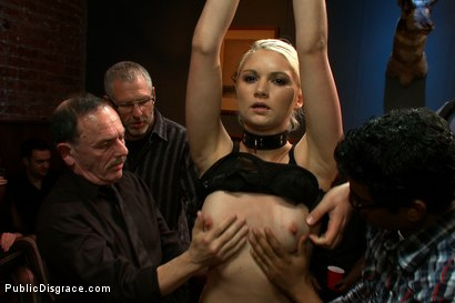 Photo number 2 from Tall Blonde Amateur Gets Fucked While Wearing Blackout Contact Lenses - She Can't See a Thing!! shot for Public Disgrace on Kink.com. Featuring Mark Davis, Natasha Lyn and Princess Donna Dolore in hardcore BDSM & Fetish porn.