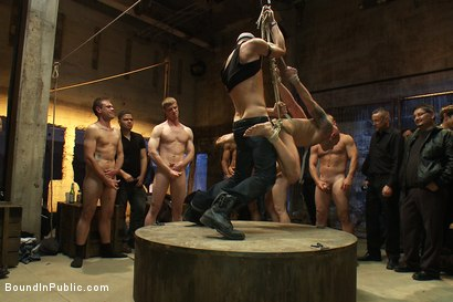 Photo number 6 from Drake Jaden swallows Girth Brooks' giant cock at the Armory party. shot for Bound in Public on Kink.com. Featuring Girth Brooks and Drake Jaden in hardcore BDSM & Fetish porn.