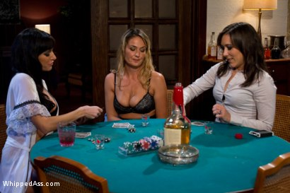 Photo number 3 from Sexy MILF boss punished and fucked by lesbian employees at a strip poker game! shot for Whipped Ass on Kink.com. Featuring Sinn Sage, Elexis Monroe and Gia DiMarco in hardcore BDSM & Fetish porn.