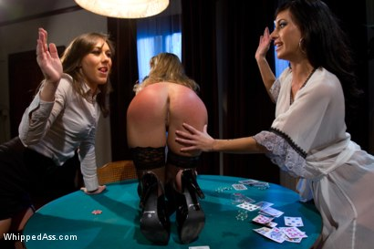 Photo number 12 from Sexy MILF boss punished and fucked by lesbian employees at a strip poker game! shot for Whipped Ass on Kink.com. Featuring Sinn Sage, Elexis Monroe and Gia DiMarco in hardcore BDSM & Fetish porn.