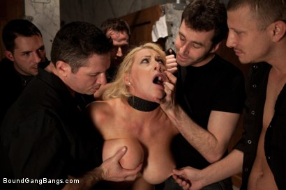 Photo number 3 from Big Tittied Rich Girl Mercilessly Fucked in a Dirty Bathroom  shot for Bound Gang Bangs on Kink.com. Featuring Candy Manson in hardcore BDSM & Fetish porn.