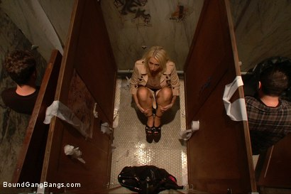 Photo number 1 from Big Tittied Rich Girl Mercilessly Fucked in a Dirty Bathroom  shot for Bound Gang Bangs on Kink.com. Featuring Candy Manson in hardcore BDSM & Fetish porn.