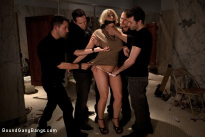 Photo number 2 from Big Tittied Rich Girl Mercilessly Fucked in a Dirty Bathroom  shot for Bound Gang Bangs on Kink.com. Featuring Candy Manson in hardcore BDSM & Fetish porn.