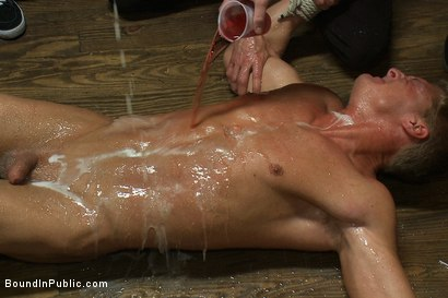 Photo number 5 from Blond Muscle Stud <br> Blindfolded, flogged, humiliated and fucked in  shot for Bound in Public on Kink.com. Featuring Gavin Waters and Christian Wilde in hardcore BDSM & Fetish porn.